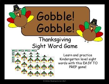 Gobble! Gobble! Thanksgiving Sight Word Game- Kindergarten
