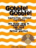 Gobble! Gobble! Thanksgiving Turkey Subtraction Task Cards