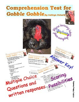 Gobble Gobble (written by Cathyrn Farwell) Comprehension Test
