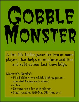 Gobble Monster - Fun Math File Folder Game
