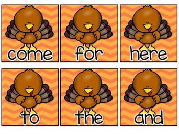 Gobble: Turkey Sight Word Game