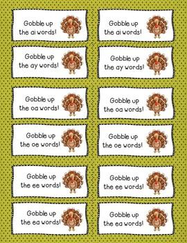 Gobble the Word Vowel teams ai/ay, ee/ea, oe/oa Game