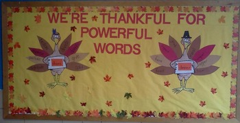 Gobblin' Up Good Words: A Thanksgiving Descriptive Words Bulletin Board Activity