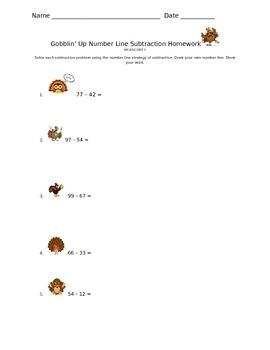Gobblin' Up Number Line Subtraction Homework