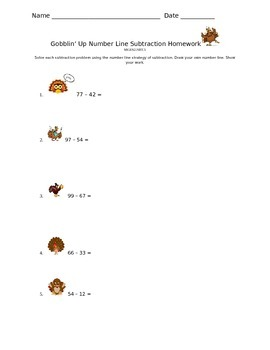 Gobblin' Up Number Line Subtraction Homework