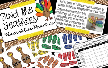 Gobblin' Up Thanksgiving PLACE VALUE Math Centers