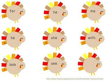 Gobblin up Sight Words! Kindergarten Write the Room