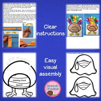 Gobbling Turkey Thanksgiving Speech Therapy Craftivity {language & articulation}
