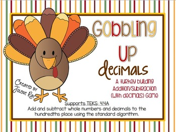 Gobbling Up Decimals: 4th Grade Addition & Subtraction: TEKS 4.4A