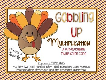 Gobbling Up Multiplication: 4th Grade Math (2 dig x 2 dig) TEKS: 4.4D