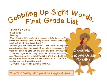 Gobbling Up Sight Words:  First Grade Dolch Words