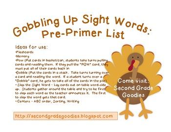 Gobbling Up Sight Words:  Pre-Primer List