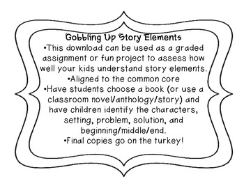 Gobbling Up Story Elements {Turkey Book Report}