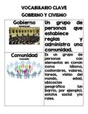 Gobierno y Civismo-VOCABULARIO CLAVE-Sopa de letras y crucigrama