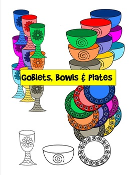 Goblets, Bowls and Plates Clip Art - 30 pieces - black line included