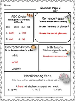 Gobs of Grammer Printables/Bell Ringers for Second Grade
