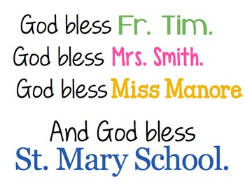 """God Bless Our School"" inspirational print for framing"