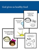 God Gives Us Healthy Food:  Coloring pages