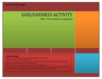 God/ Goddess Mini-Presentation Assignment. Great for Greek Myth or The Odyssey!