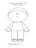 """God Made Me"" Coloring Page-Boy"