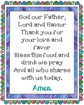 God Our Father Poster. Prayer, Blessings, Dinner, Meals.