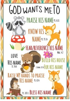 God Wants Me To ... Forest Animals Poster