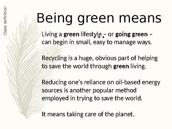 God and being green