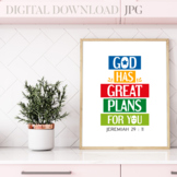 God has great plans for you, Jeremiah 21:11 - Bible verse poster
