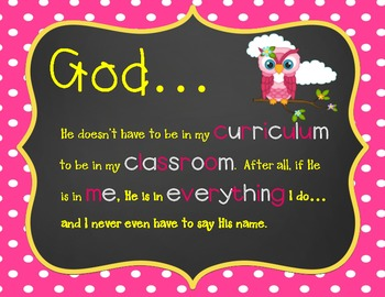 God in the Classroom- Pink, White & Yellow Owl Quote