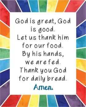 God is Great, God is Good Poster. Prayer, Blessings, Dinner, Meals.