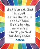 God is Great, God is Good Poster. Prayer, Blessings, Dinner, Meals.