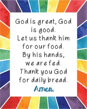 God is Great, God is Good Poster  Prayer, Blessings, Dinner, Meals