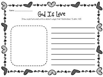 God is Love: Draw, Write, Pray! Freebie