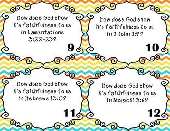 God's Faithfulness Bible Task Cards for Upper Elementary