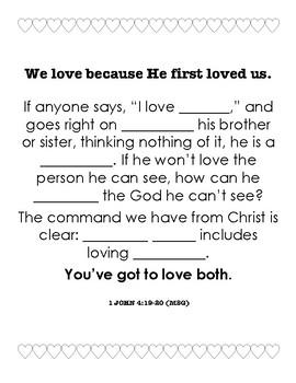God's Love Worksheet / Valentines (1 John 4:19)