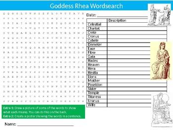 Goddess Rhea Wordsearch Sheet Starter Activity Greek Mythology