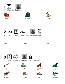 Godzilla - Picture supported text lesson facts review questions visuals