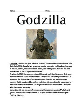 Godzilla - lesson - History, facts, information, movies qu