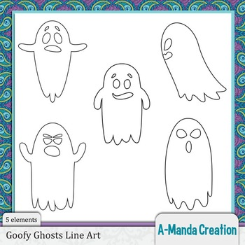 Gofy Ghosts Line Art and Digital Stamps