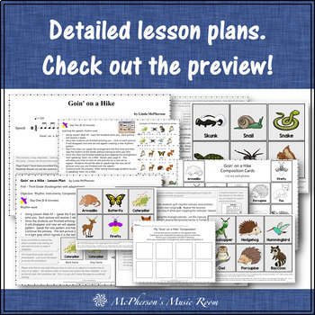 Orff Lesson ~ Goin' on a Hike: Orff, Instruments, Rhythm & Composition