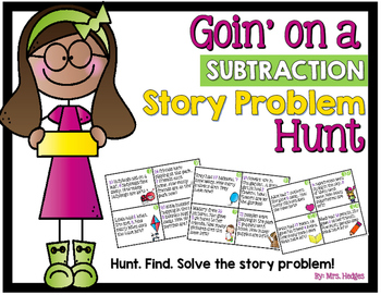 Subtraction Task Cards: Goin' on a Subtraction Story Problem Hunt