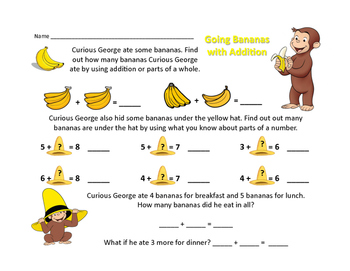 Going Bananas for Addition- Parts of 7 and 8