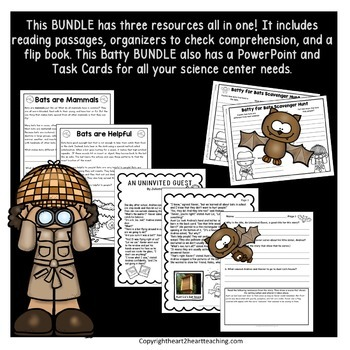 Fall Activities: Bats Super Bundle with Flip Book, PowerPoint & Task Cards