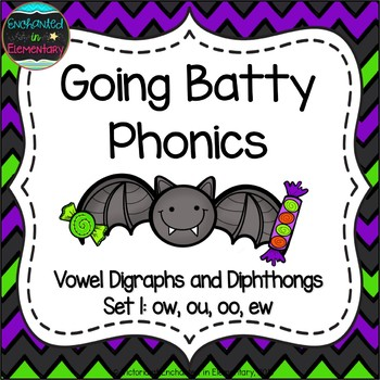 Going Batty Phonics: Vowel Digraphs and Diphthongs Pack 1: ow, ou, oo, ew