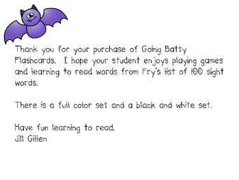 Going Batty Sight Word Flashcards