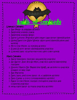 Going Batty for Centers ~ 16 Math and Literacy Centers Perfect for Halloween!!