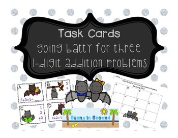 Going Batty for Three 1-Digit Addition Problems TASK CARDS