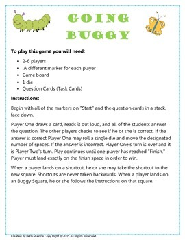 Going Buggy Task Card Game Board