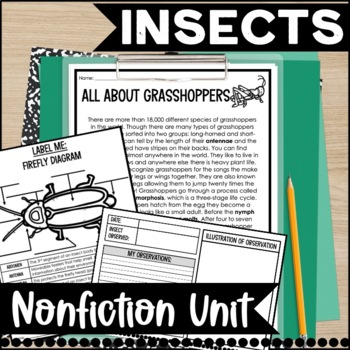 Insects Nonfiction Informational Text Unit and Journal