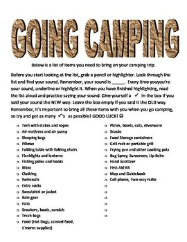 Going Camping: Articulation